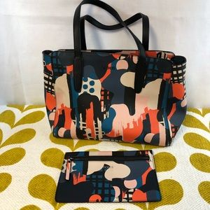 Tous Brand Abstract Colorful Tote And Pouch